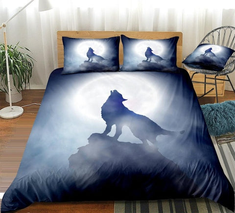 White Moon Howl Wolf Bedding Set - Beddingify