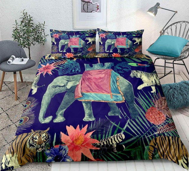 Tropical Elephant and Tiger Bedding set - Beddingify