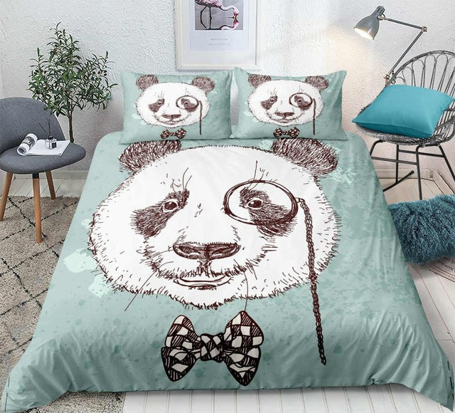 Panda Hand Drawn Bedding Set - Beddingify