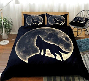 Wolf Howling In Full Moon Bedding Set - Beddingify