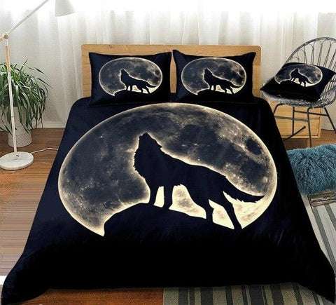 Image of Wolf Howling In Full Moon Bedding Set - Beddingify