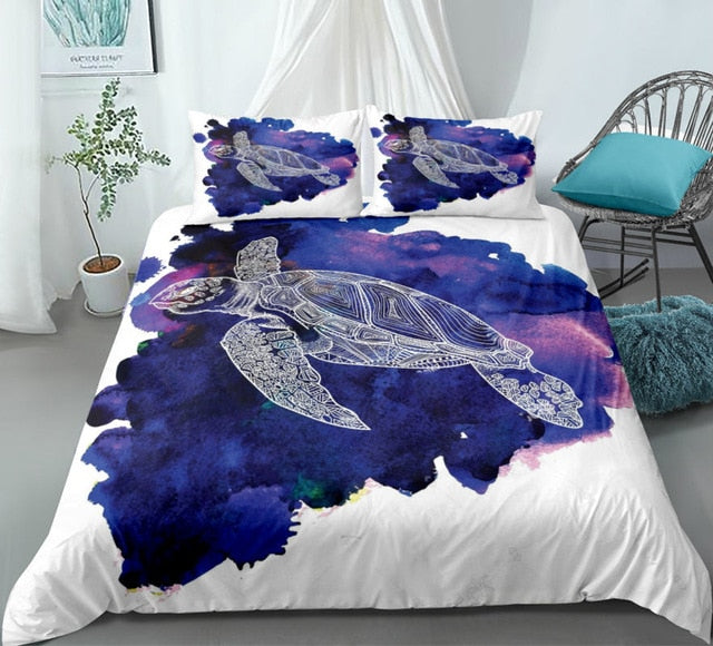 Purple Sea Turtle Bedding Set - Beddingify