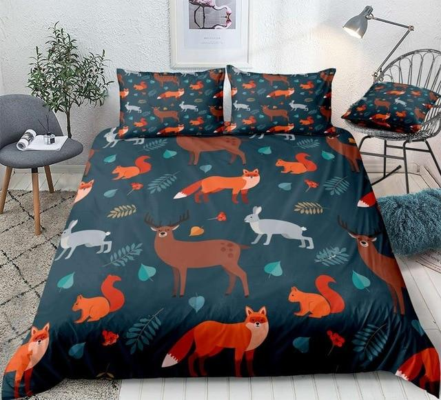Forest Animals and Autumn Leaves Comforter Set - Beddingify