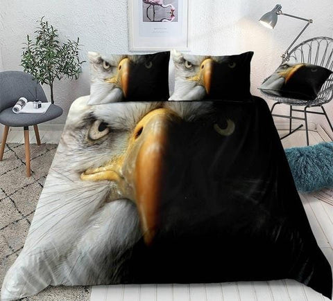Image of Black and White Eagle Bedding Set - Beddingify