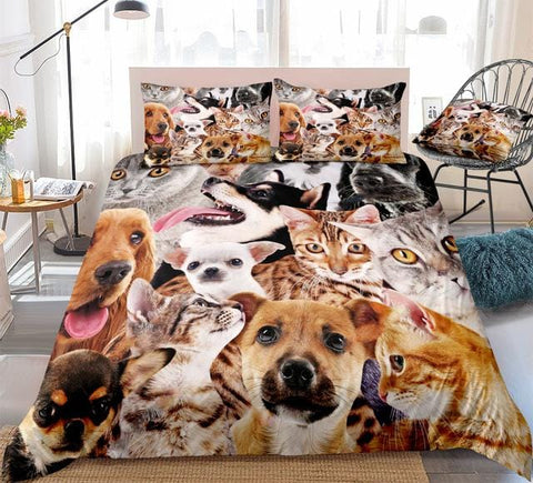Lovely Cats and Dogs Bedding Set - Beddingify