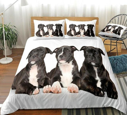 Image of 3D  Three Black Dogs Bedding Set