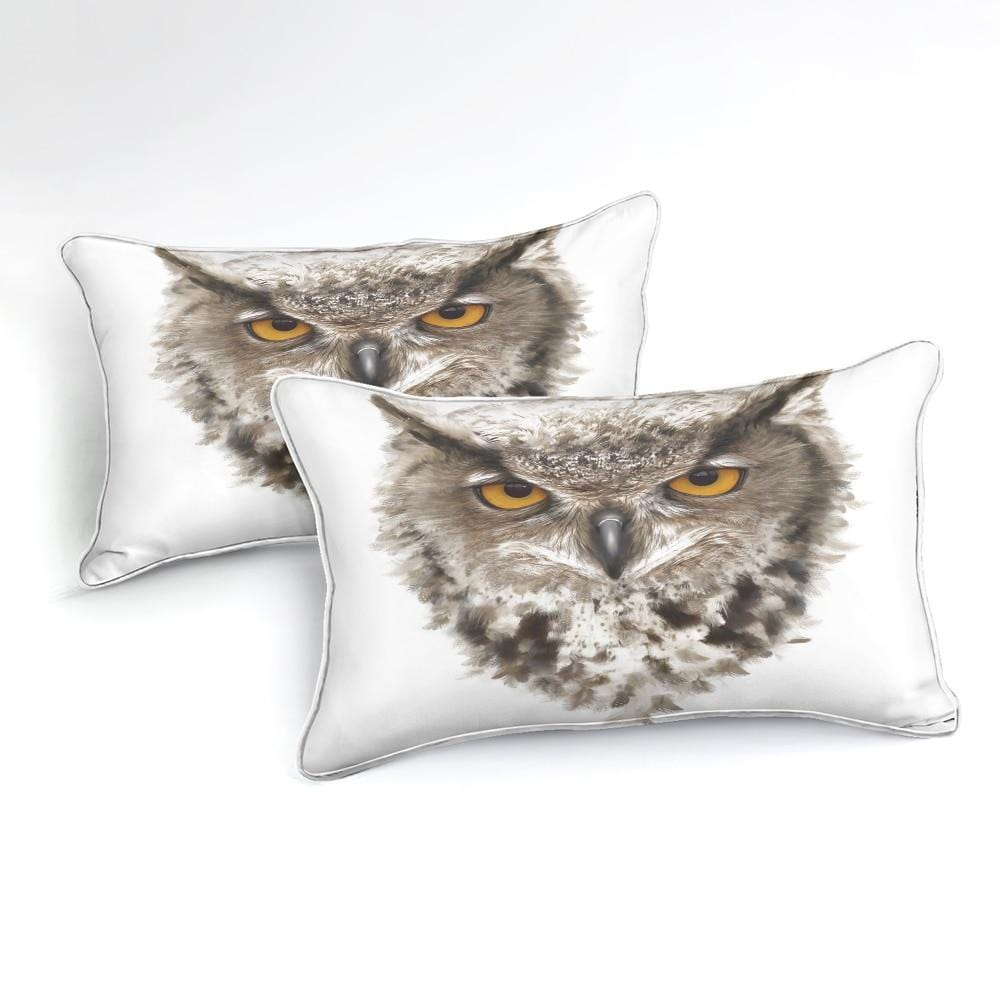 3D Owl with Ears and Yellow Eyes White Bedding Set - Beddingify