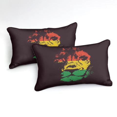Red Yellow Green Lion Head Bedding Set - Beddingify