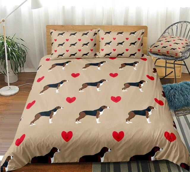 Hound Dog with Red Hearts Bedding Set - Beddingify