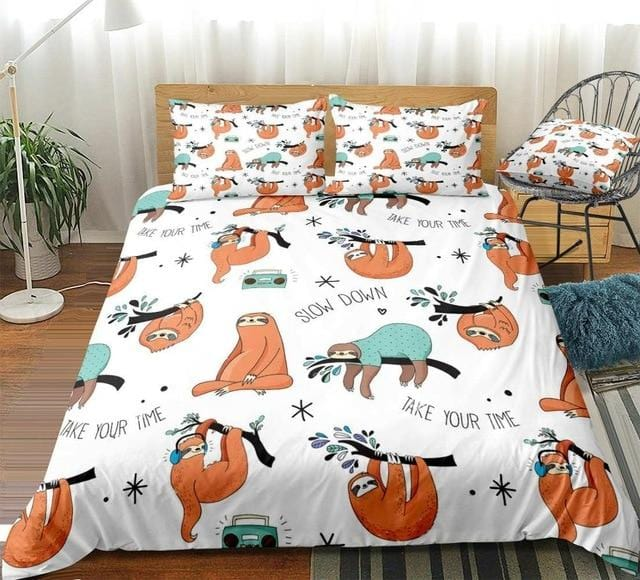 Different Forms Cute Sloth Bedding Set - Beddingify