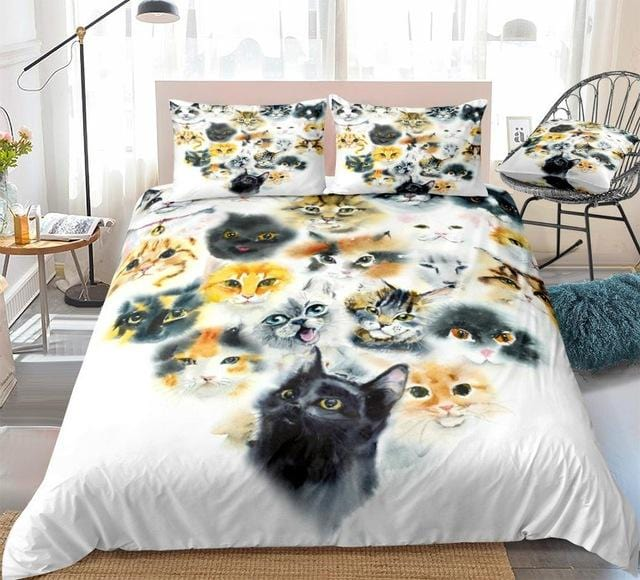 Watercolor Lovely Cats Bedding Set - Beddingify