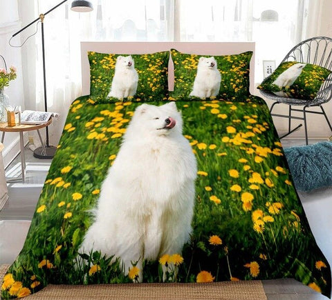 Image of Samoyed Dog Smiling Bedding Set - Beddingify