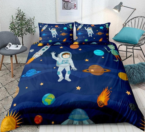 Cartoon Space Astronaut Bedding Set - Beddingify
