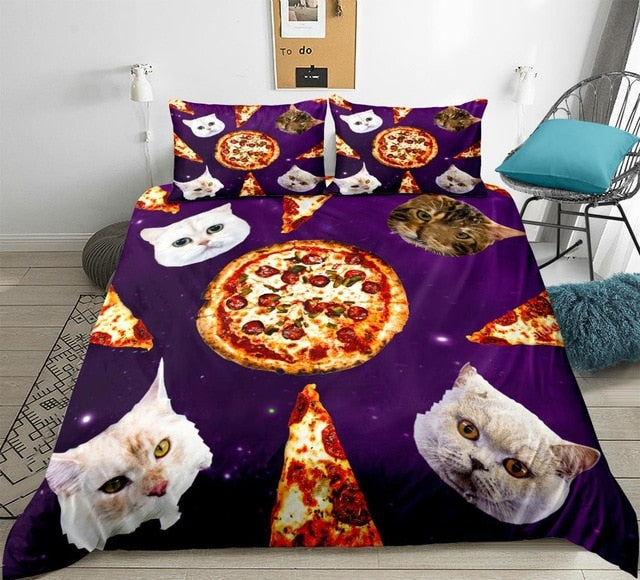 Cats and Pizza in Space Bedding Set - Beddingify