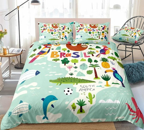 Image of Tropical Brazil Map Bedding Set - Beddingify