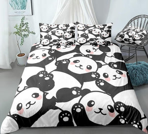 Cute Cartoon Panda Bedding Set - Beddingify