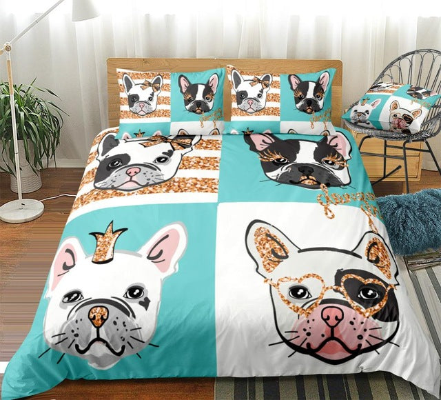 Bulldog Portraits with Gold Glitter Bedding Set - Beddingify