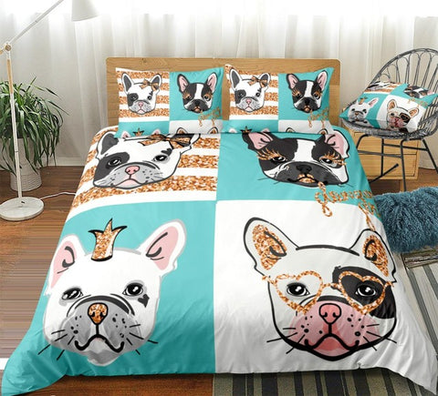 Image of Bulldog Portraits with Gold Glitter Bedding Set - Beddingify