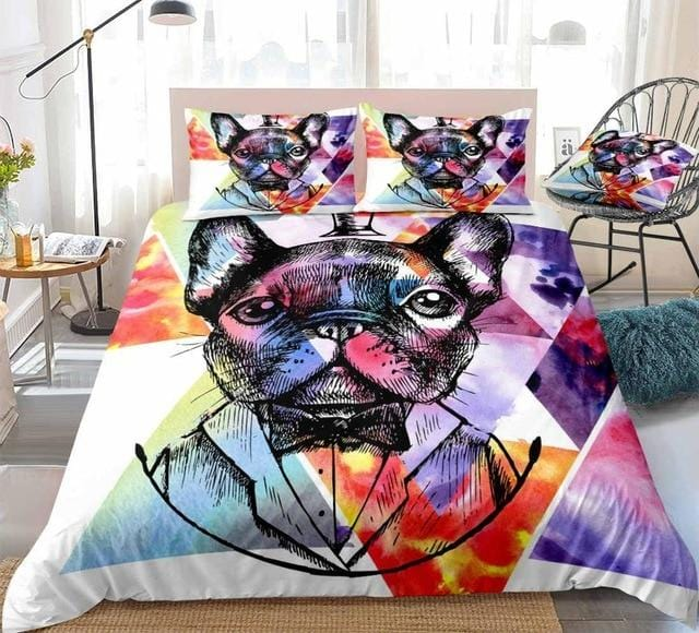 Gentleman Bulldog Watercolor Bedding Set - Beddingify