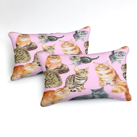 Watercolor 3D Cats Bedding Set - Beddingify