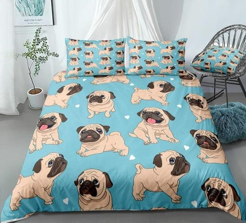 Image of Cartoon Pugs Blue Bedding Set - Beddingify