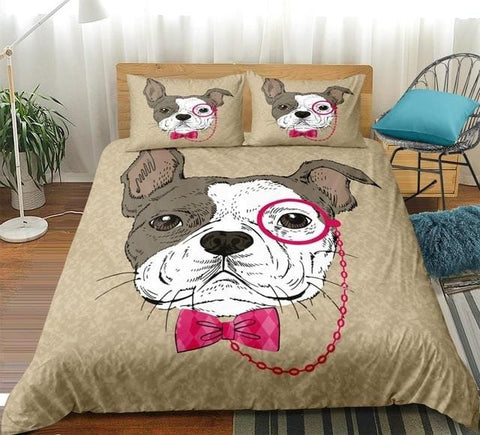 Image of Bulldog in Pink Tie Bow and Monocle Bedding Set - Beddingify