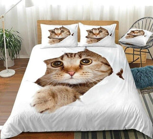 Cat Looking Up Bedding Set - Beddingify