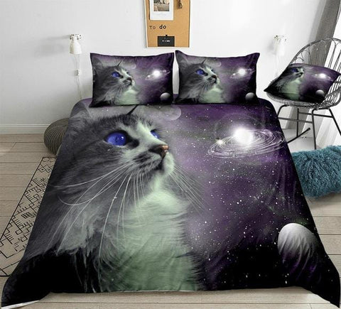 Image of Cat With Galaxy Bedding Set - Beddingify