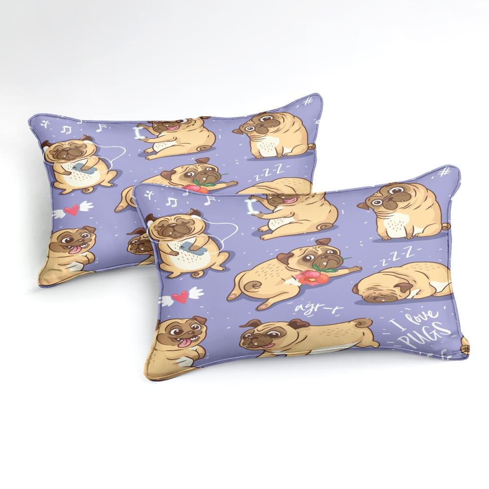 Cartoon Pugs Bedding Set - Beddingify