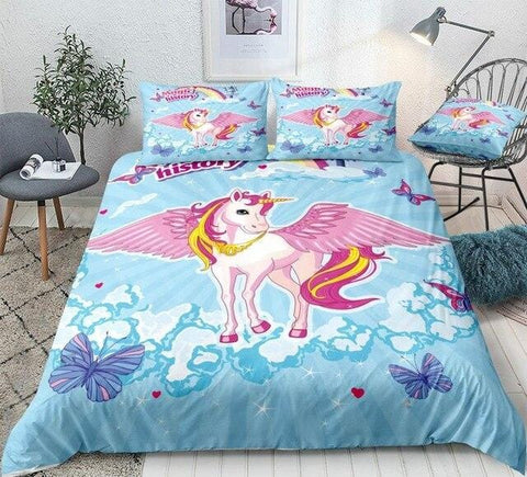 Image of Pink Unicorn Blue Sky Bedding Set - Beddingify