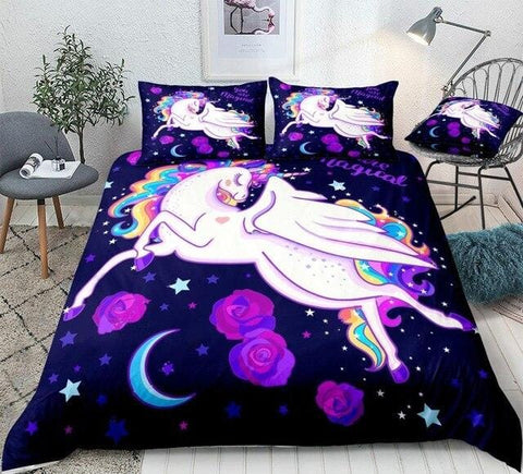 Image of Rainbow Unicorn Among Stars Bedding Set - Beddingify