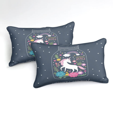 Image of Purple Floral Unicorn Bedding Set - Beddingify