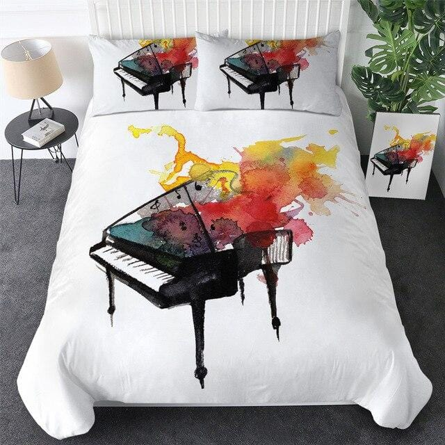 Watercolor Piano Bedding Set - Beddingify