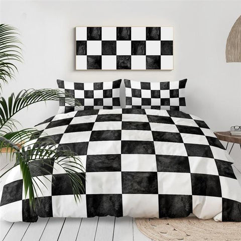 Black and White Chess Board Bedding Set