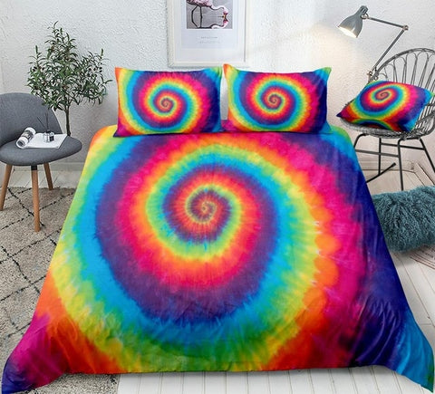 Hippie Rainbow Tie Dye Bedding Set - Beddingify