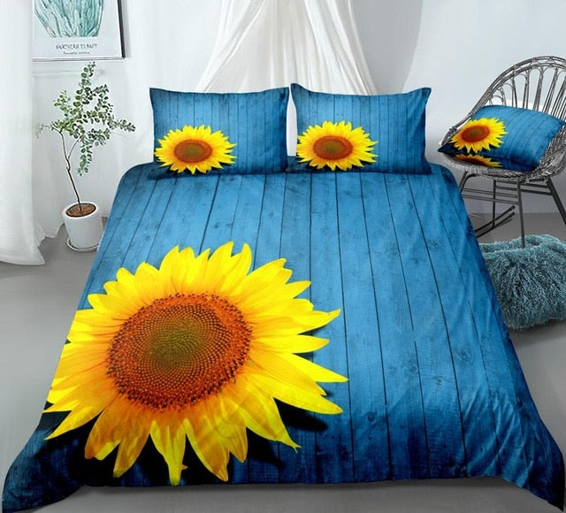 3D Sunflower Blue Bedding Set - Beddingify