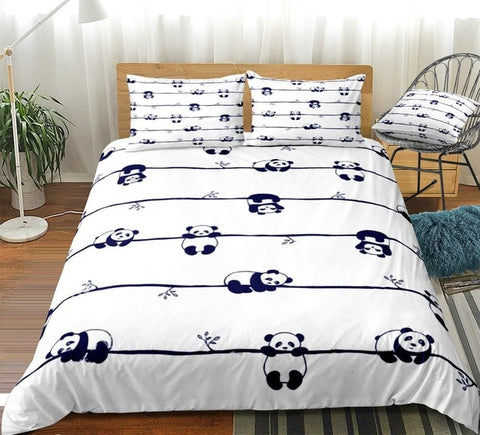 Cute Little Panda in Different Poses Bedding Set