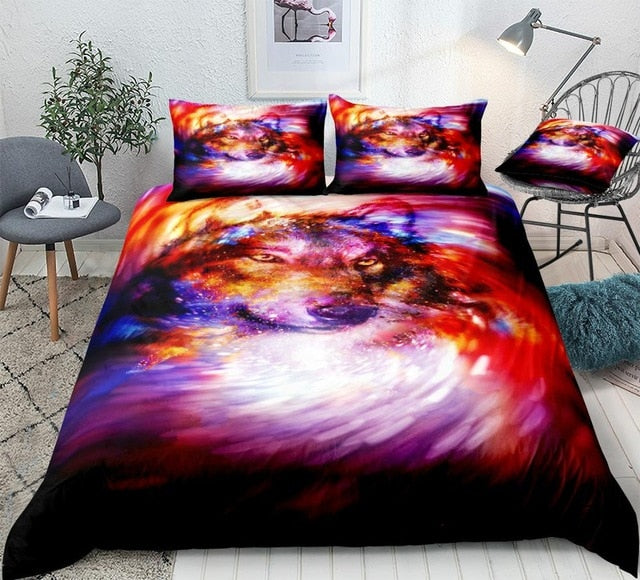 Colorful Space Wolf Bedding Set - Beddingify