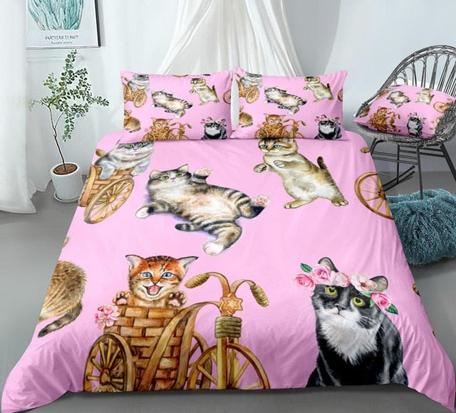 Watercolor Cute Playful Cats Bedding Set - Beddingify