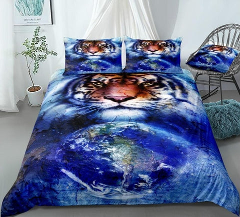 Image of Blue Cosmic Space Tiger Bedding Set - Beddingify