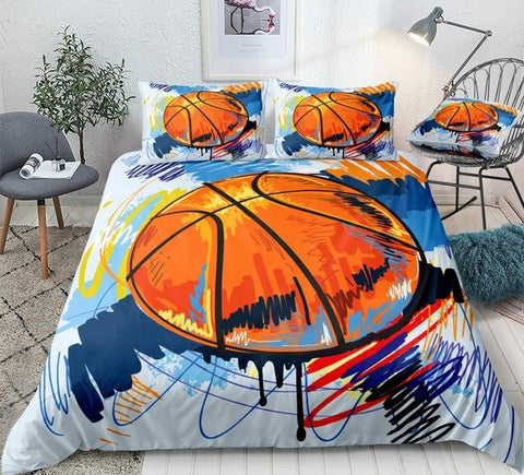 Image of Watercolor Basketball Bedding Set - Beddingify