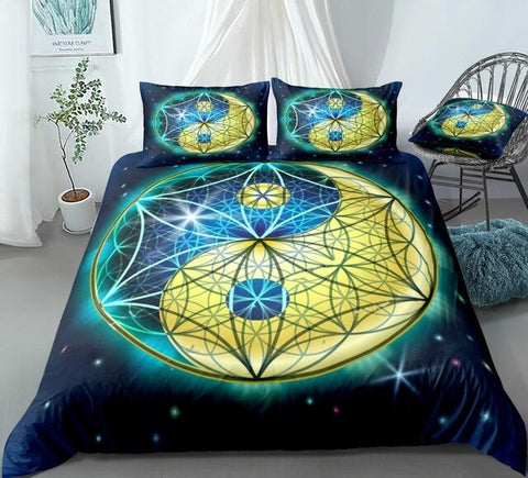 Image of Galaxy Geometry Blue Yellow Yin Yang Bedding Set - Beddingify