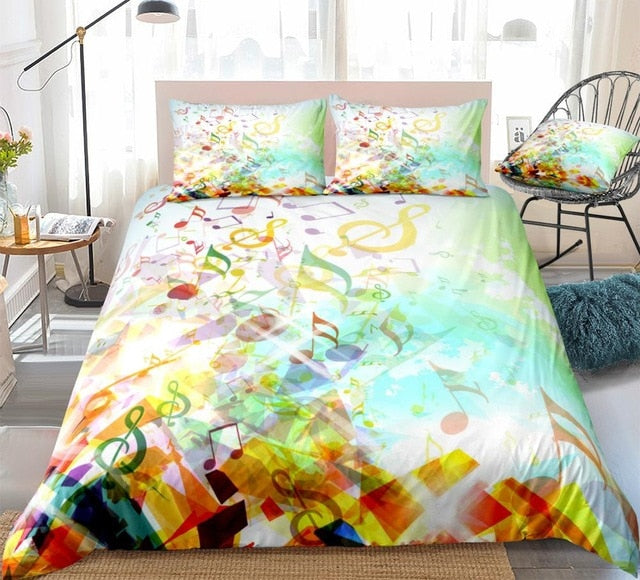 Colorful Musical Notes Bedding Set - Beddingify