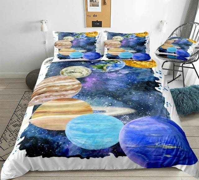 3D Watercolor Planets Bedding Set - Beddingify
