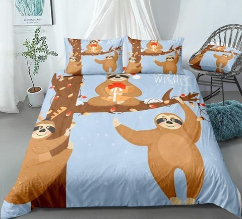 Image of Christmas Sloths Bedding Set - Beddingify