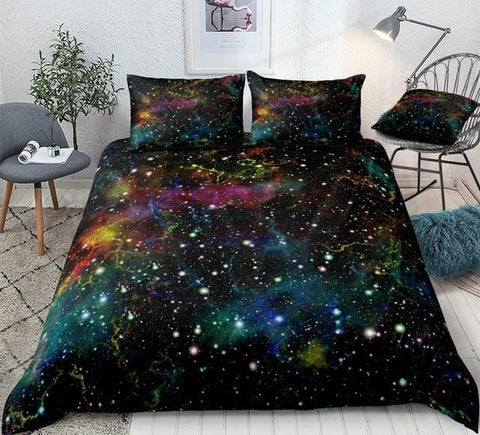 Image of Multicolor Outer Space Bedding Set - Beddingify