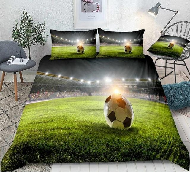 3D Football on Green Field Bedding Set - Beddingify