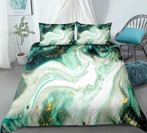 Green Gold Luxury Marble Bedding Set - Beddingify