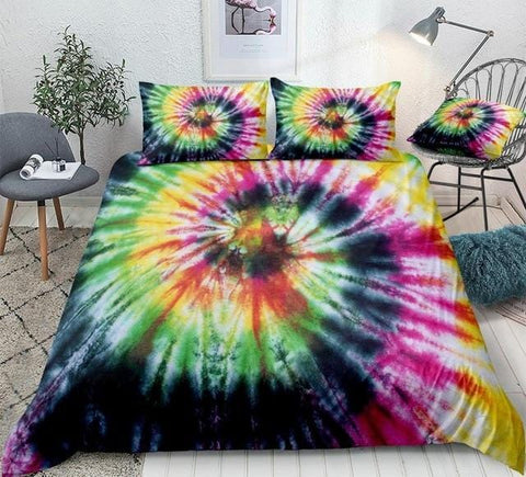 Image of Tie Dyed Yellow Green Bedding Set - Beddingify