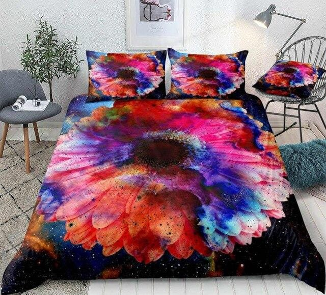 Colorful Galaxy with Flower Bedding Set - Beddingify